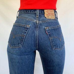 Vintage 80s Rare Levi's 501 Dark Wash Button Jeans